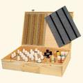 Holzkoffer mit Federschnappverschluss und flexiblen Holzgriff