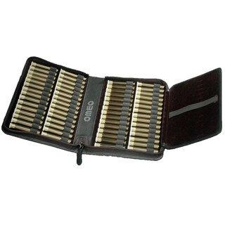 60er Taschenapotheke mit leeren braunen 1,5 g Gläschen - OMEO - Rindnappa-Leder schwarz