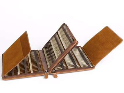 240 - Remedy case in natural tanned nappa-leather with empty brown glass vials/