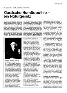 Klassische Homöopathie - Ein Naturgesetz/Joachim-F. Grätz