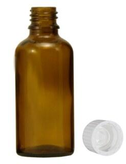 Braunglasfläschchen 50 ml mit Verschluss und Tropfer U1 schnell tropfend - 114 Stück / Safepack