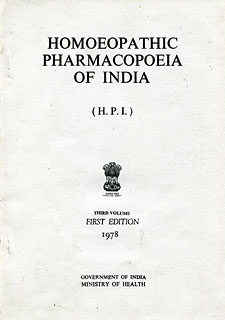 Homoeopathic Pharmacopoeia of India (Volume III, Year 1978)/Govt of India-Ministry of Health