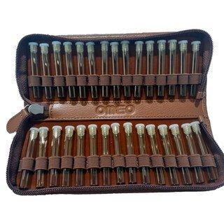 30er Taschenapotheke mit leeren braunen 1,5 g Gläschen - Nappaleder Bio Naturgerbung/