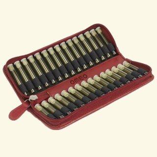 30er Taschenapotheke leer - OMEO - Rindnappa-Leder rot