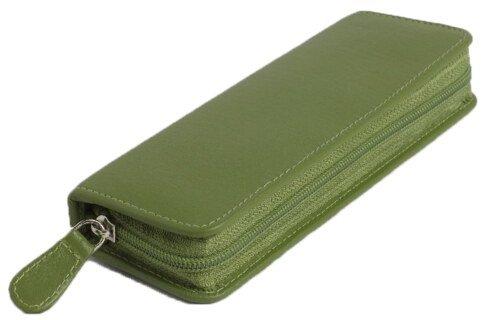 Pharmacie de poche, vide, pour 30 fioles, en cuir vachette vert/