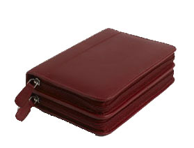 120 - Remedy case in high-quality cowhide - red/