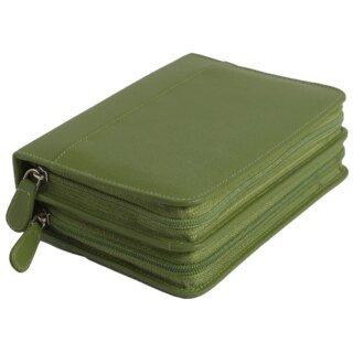 Pharmacie de poche, vide, pour 120 fioles, en cuir vachette vert/