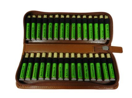 Basic Kit -  30 remedies for plant homeopathy in green leather case (Kaviraj), Homeoplant