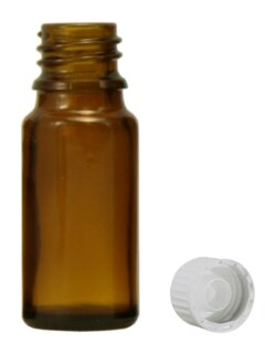 Brown glass bottles, 20 ml, with pellet dispenser and white cap