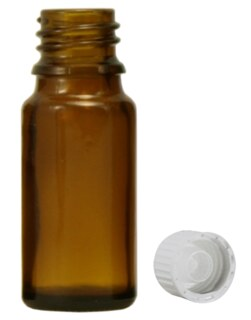 Brown glass bottles, 30 ml, with pellet dispenser and white cap