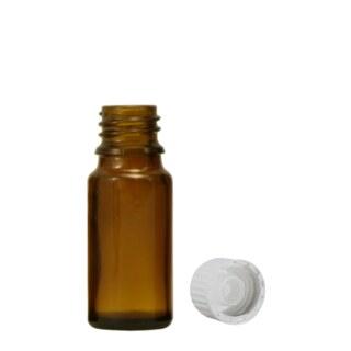 Braunglasfläschchen 10 ml mit Globuliausgießer mit weißem Verschluss
