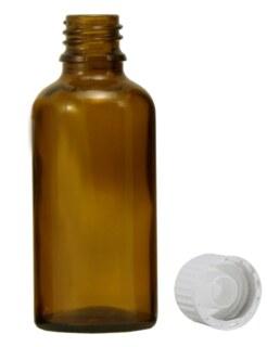 Brown glass bottles, 50 ml, with pellet dispenser and white cap/
