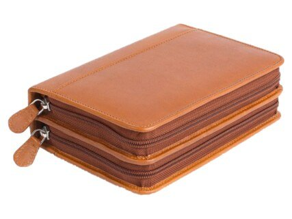 Pharmacie de poche : étui cuir souple, 120 inserts Ø 8 à 10 mm, ton cognac/