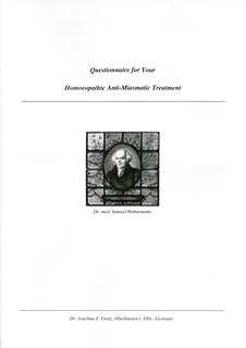 Questionnaire for Your Homoeopathic Anti-Miasmatic Treatment/Joachim-F. Grätz