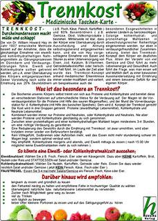 Trennkost - Medizinische Taschen-Karte/Uwe Hawelka (Hrsg.)