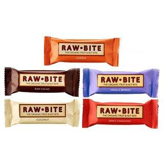 Assortiment de 6 barres énergétiques véganes, crues et bio, Raw Bite*/