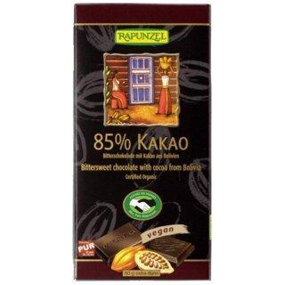 Bitterschokolade 85% Kakao aus Bolivien - Bio - 80 g/
