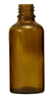 Braunglasfläschchen 50 ml ohne Verschluss und Tropfer - 20 Stück