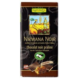 Chocolat noir Nirwana 50 % - fourré praliné noir - 100 g/