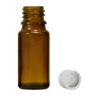 Brown glass bottles, 20 ml, with pellet dispenser and white cap