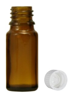 Flacon en verre brun 20 ml avec bouchon et goutte à goutte rapide - 20 pièces/