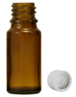 Brown glass bottles, 30 ml, with pellet dispenser and white cap