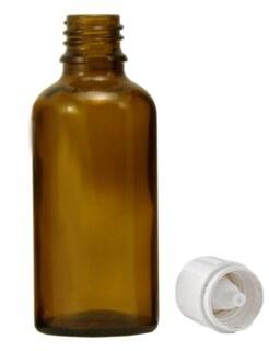 Braunglasfläschchen 50 ml mit Verschluss und Tropfer U2 - langsam tropfend