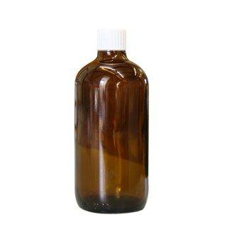 Brown glass bottles, 100 ml, with pellet dispenser and white cap