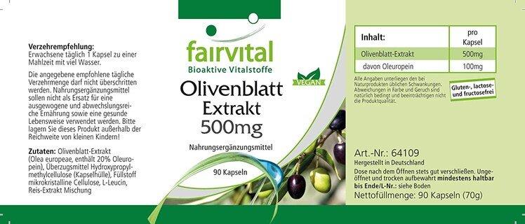 Olivenblatt Extrakt 500 mg - 90 Kapseln