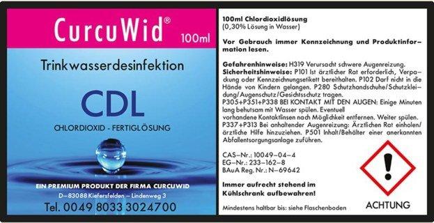 CDL/CDS Chlordioxid Fertiglösung 0,3 % - 100 ml - CurcuWid