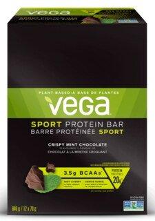 Vega Sport® Protein Bar Crispy Mint Chocolate - 12 x 70 g - Sonderangebot wegen kurzem Mindesthaltbarkeitsdatum