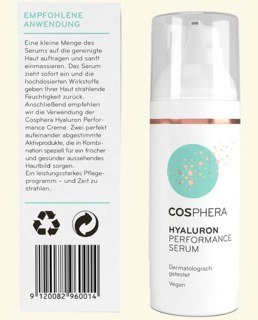 Sérum Hyaluron Performance Cosphera  hautement  dosé - 50 ml
