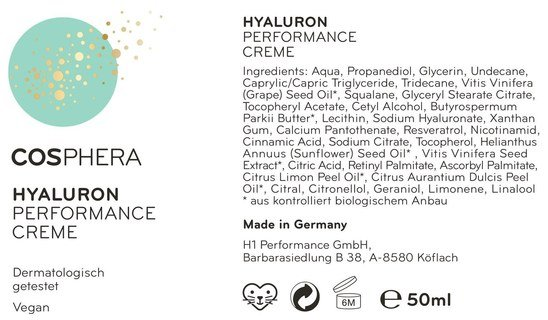 Hyaluron Performance Cream from Cosphera - high-dose - 50 ml