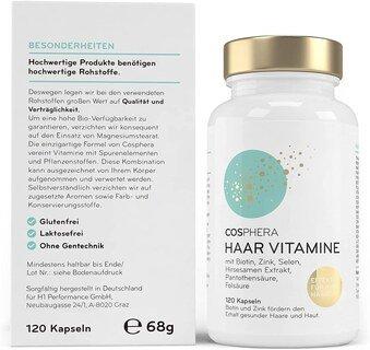 Haar Vitamine von Cosphera - Hochdosiert - 120 vegane Kapseln