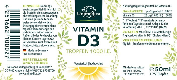 Vitamin D3 Drops - from Unimedica - 50 ml