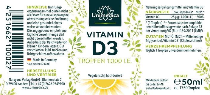 Vitamin D3 Tropfen - 1000 I.E./25 µg  - 50 ml - von Unimedica