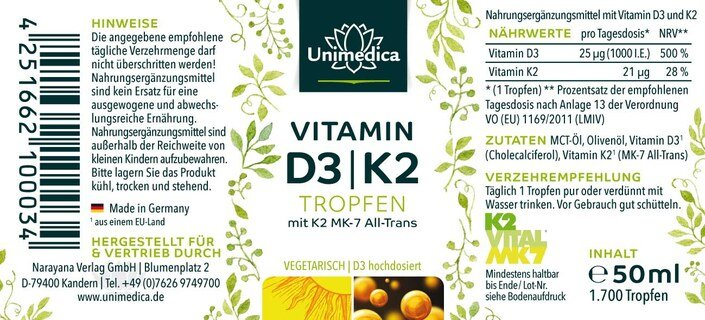 Vitamin D3 / K2 MK7 all-trans drops - by Unimedica - 50 ml