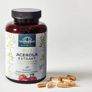 Natürliches Vitamin C - Bio Acerola Extrakt - 180 Kapseln - von Unimedica