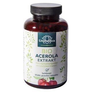 Natürliches Vitamin C - Bio Acerola Extrakt - 180 Kapseln - von Unimedica/
