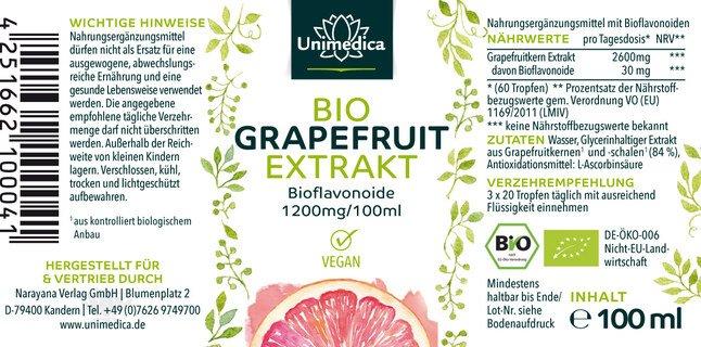 Grapefruitkernextrakt Bio 1200mg - 100 ml - von Unimedica