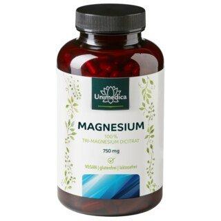Magnesium - 750 mg Tri-Magnesium Dicitrat - 180 Kapseln - von Unimedica/