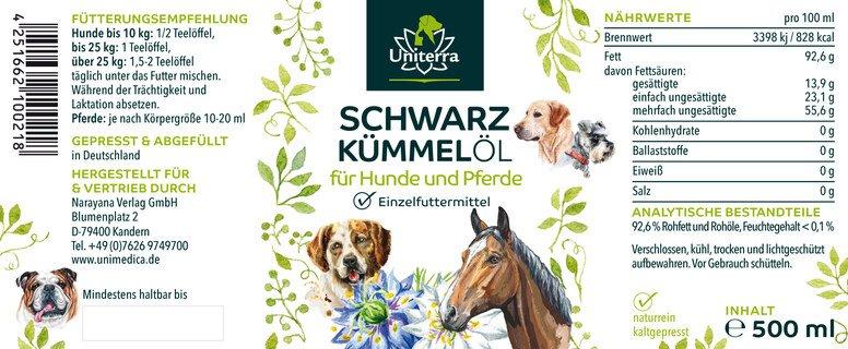 Schwarzkümmelöl für Hunde - 500 ml - von Unimedica
