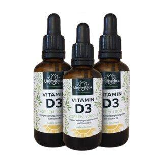 Vitamin D3 Tropfen - 1000 IE/25µg 50 ml - von Unimedica - 3 x 50 ml/