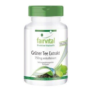 Grüner Tee Extrakt 750 mg entkoffeiniert - 90 Kapseln/