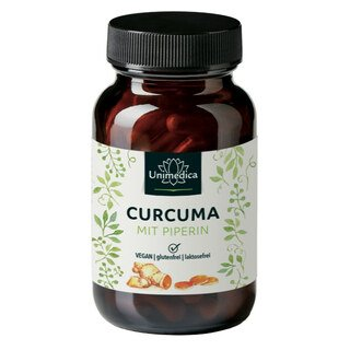 Curcuma mit Piperin - 300 mg Curcumin und 10 mg Piperin - 90 Kapseln - von Unimedica/