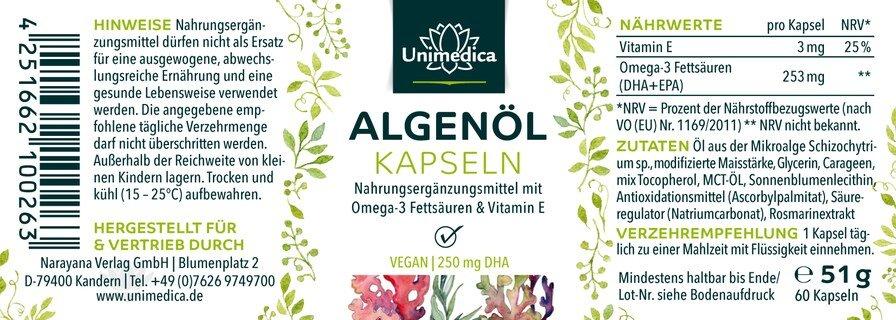 Algae oil capsules - 60 capsules - from Unimedica