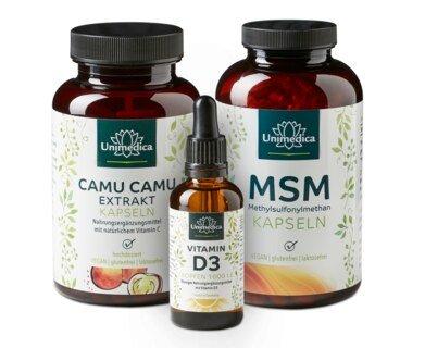 Set: MSM 800 mg 365 Kapseln UND  Camu Camu Extrakt 500 mg - 120 Kapseln UND Vitamin D3 Tropfen - 50 ml im Set - von Unimedica/