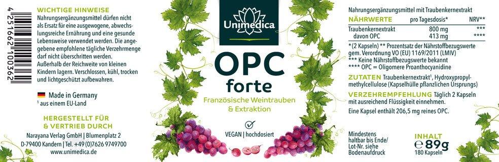OPC forte - 800 mg d'extrait de pépins de raisin par dose journalière - 180 gélules  Unimedica