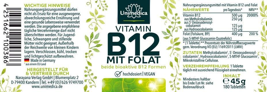 Vitamin B12 mit Folat - 180 Tabletten - von Unimedica