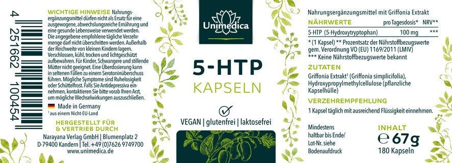 5-HTP Kapseln - 100 mg - 180 Kapseln - von Unimedica